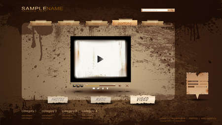 Vintage Portfolio Website page/video 1600x900 Stock Vector - 10270807