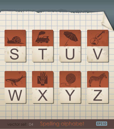Vintage Spelling Alphabet. STUVWXYZ, Vector Illustration.  Vector
