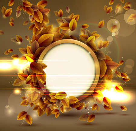circle design: Shiny sensual autumn background with lights.