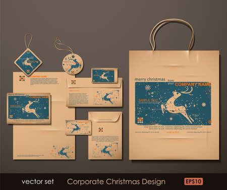 carta identit�: Azienda di Natale Design. Renna tema. Due colori diversi materiali per la stampa alla vecchia maniera, ma di tendenza. Stampa su carta bianca marrone. Illustrazione Vettoriale.