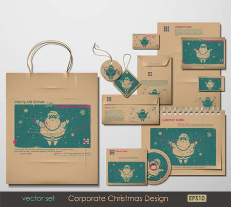 postal card: Corporate Christmas Design. Santa Clause theme. Two colors different material for printing  the old fashioned way, but trendy. Print on blank brown paper. Vector Illustration.