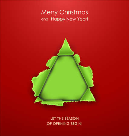 Torn paper in the shape of Christmas tree. Vector
