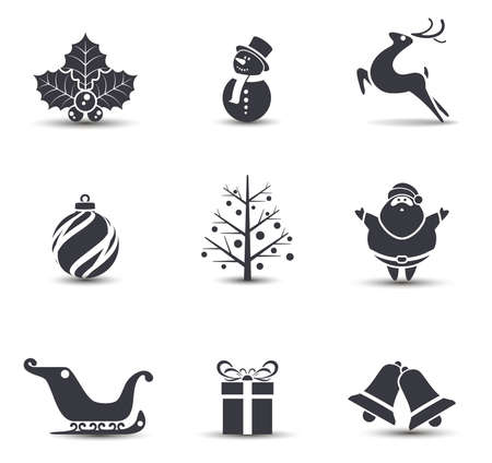 snowman isolated: Vector Christmas icons.