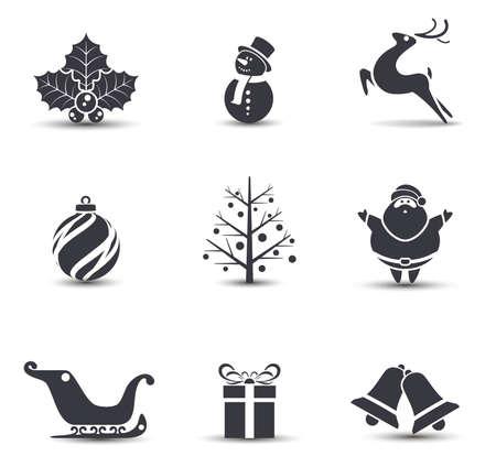 papa noel en trineo: Vector iconos de Navidad.