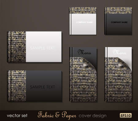 catalog: Fabric and Paper composite cover design. Vector Illustration.