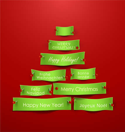 Paper cuts in the shape of Christmas tree with different holidays messages. Vector Illustration  Vector