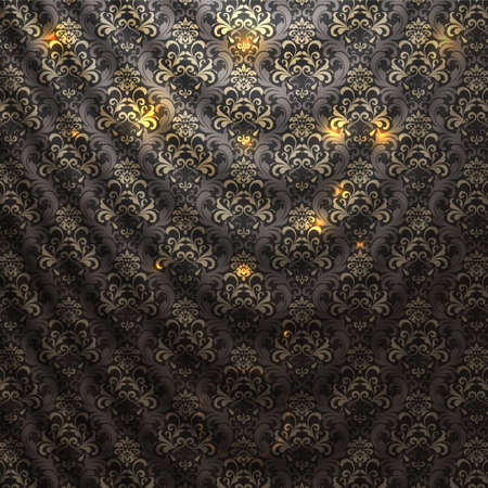 Damask patterned drapery Background. Vector Illustration.  Vector
