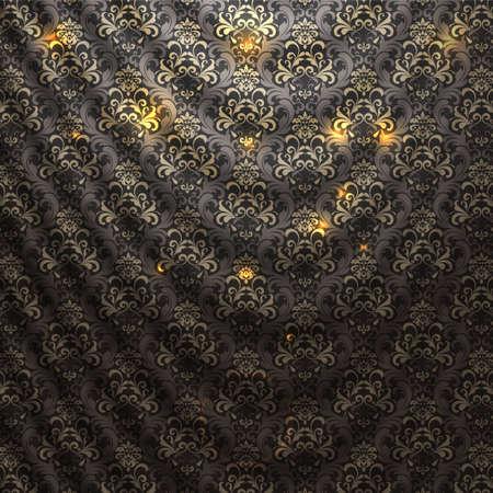 drapes: Damask patterned drapery Background. Vector Illustration.