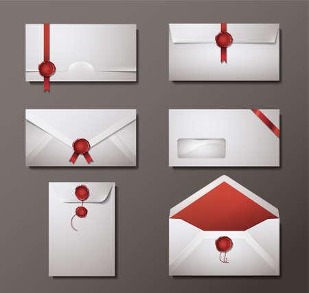 carta de amor: Conjunto de vectores de sobres sellados cera. Vectores