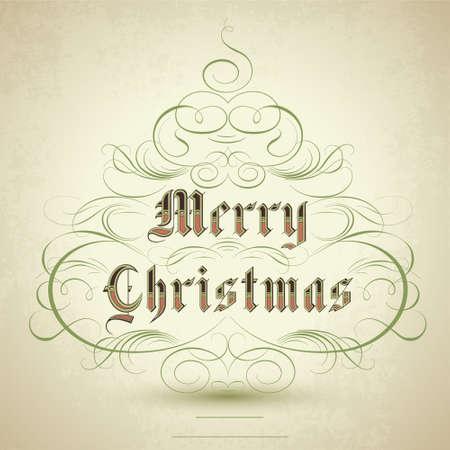 navidad elegante: Estilizado �rbol de Navidad con adornos de florecer y texto feliz Navidad.