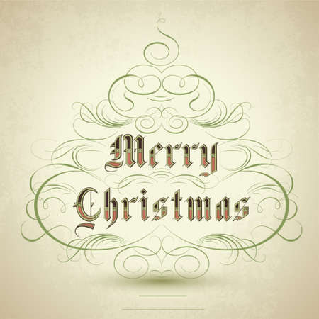 Stylized Christmas tree with flourish ornaments and text Merry Christmas. Vector