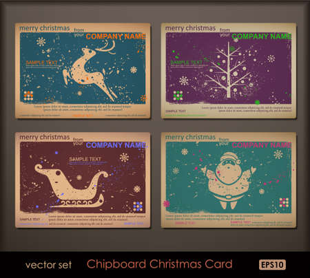 Vintage collection of chipboard Christmas cards. Two colors cards for printing the old fashioned way, but trendy. Print on blank chipboard textured paper. Size A6 (105�148 mm / 4.1�5.8 in) Stock Vector - 10933953