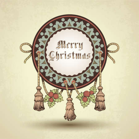 Christmas decorative ornamental background with vintage vignette.  Vector
