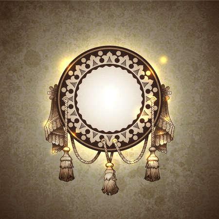 tassel: Vector decorative ornamental background with vintage vignette.  Illustration