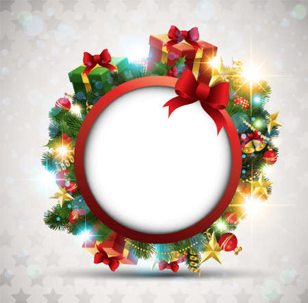 christmas wreath: Christmas Banner. Vector Illustration.