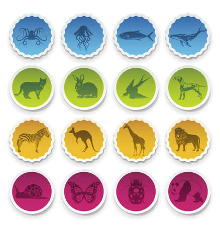 Collection of stickers with selected animals symbolsicons. Vector Illustration.  Vector