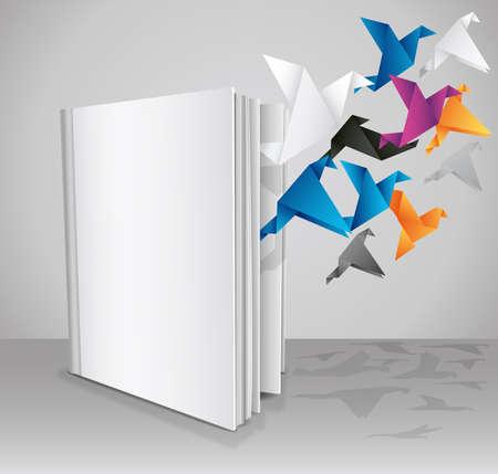 mouche: Livre blanc, � Libre votre connaissance �. Pr�sentation de livre cr�ative. Illustration vectorielle.