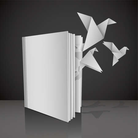 defter: Empty white book with symbolic title Give wings to your knowledge and with origami paper birds fly from it. Vector Illustration.  Çizim