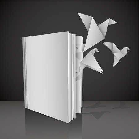 """učebnice: Prázdná bílá kniha se symbolickým názvem """"Dej křídla své znalosti"""" a papír na origami ptáci létají z něj. Vektorové ilustrace. Ilustrace"""