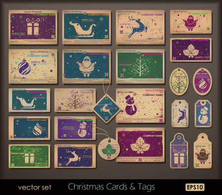 old postcards: Vintage collection of chipboard Christmas cards. Two colors cards for printing the old fashioned way, but trendy. Print on blank chipboard textured paper. Vector Illustration.