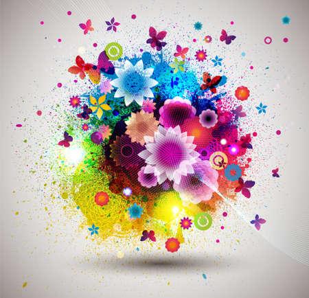 Grunge floral Background. Stock Vector - 10933993