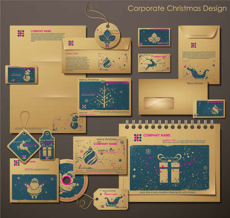office stationery: Corporate Christmas Design. Different Christmas Symbols. Two colors different material for printing the old fashioned way, but trendy. Print on blank brownrecycled paper. Vector Illustration.  Illustration