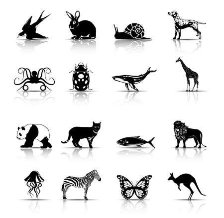 Icone/simboli animali selezionati. Illustrazione vettoriale.  Vettoriali