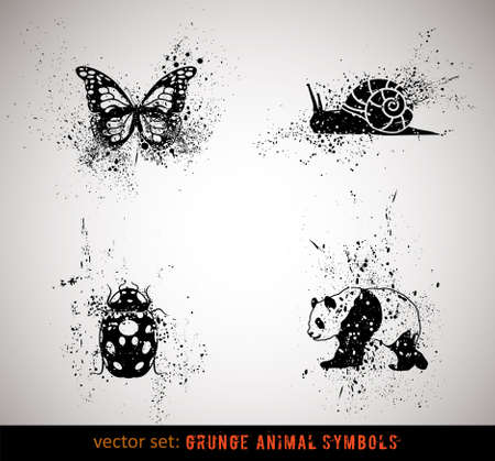 panda: Selected grungy animals symbolsicons. Vector Illustration.