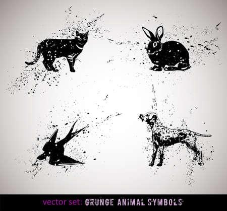 silhouette lapin: S�lectionn� des animaux grungy symboles  ic�nes. Illustration Vecteur.