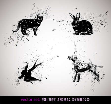 selected: Selected grungy animals symbolsicons. Vector Illustration.