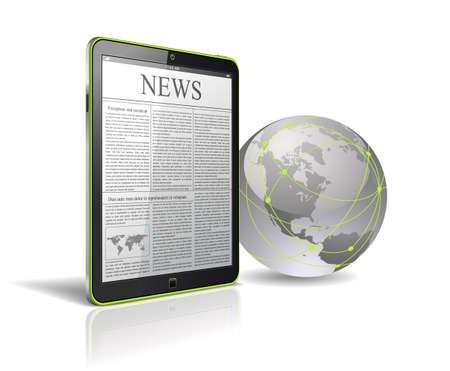 tablette pc: Tablet PC g�n�rique avec un globe terrestre.
