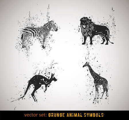 kangaroo: Selected grungy animals symbolsicons. Vector Illustration.