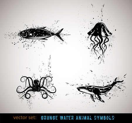 octopus: Geselecteerde grungy dieren symbolen  pictogrammen. Vector Illustratie.