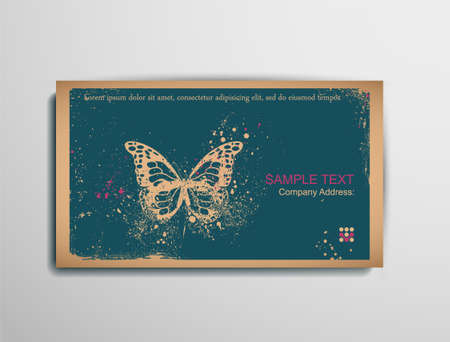 BusinessCallingVisiting Chipboard Card.Butterfly. Two colors card for printing the old fashioned way, but trendy. Print on blank chipboard textured paper. Size 88.9×50.8mm3.5×2in.  Vector