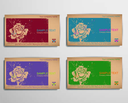 BusinessCallingVisiting Chipboard Card. Rose Vector