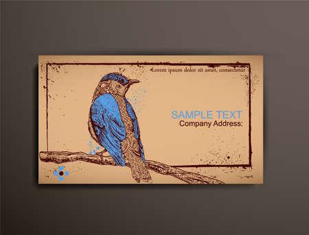 chipboard: BusinessCallingVisiting Chipboard Card. Bird