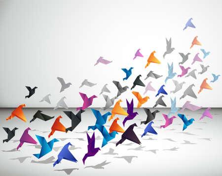 Indoor vlucht, Origami Vogels beginnen te vliegen in een gesloten ruimte. Vector Illustratie