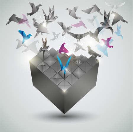 Métamorphose, illustration vectorielle Origami abstrait. Vecteurs
