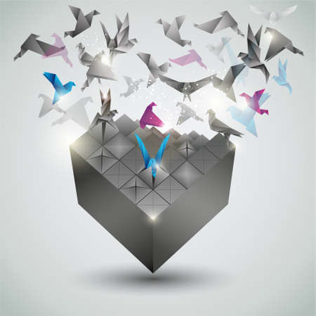 origami bird: Metamorphosis, Origami abstract vector illustration.  Illustration