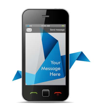 transporteur: Carrier Pigeon Origami avec une zone pour les SMS. Illustration
