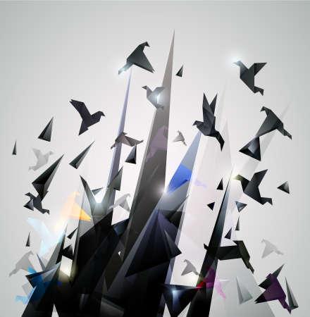 palomas volando: Escape de papel, Origami ilustraci�n vectorial abstracto. Vectores