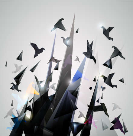 pigeons: Paper Escape, Origami abstract vector illustration.