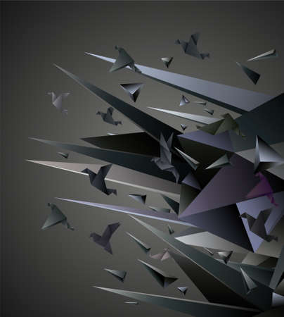 transformation: Paper Escape, Origami abstract vector illustration.