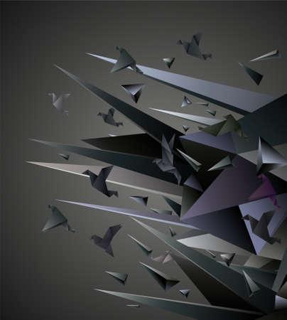 Papier Escape, Origami abstracte vector illustratie. Vector Illustratie