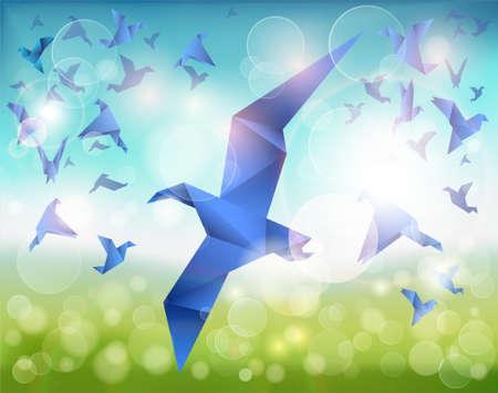 zwerm vogels: Papier Flight, Origami Blue Birds vliegen over een prachtig landschap. Stock Illustratie