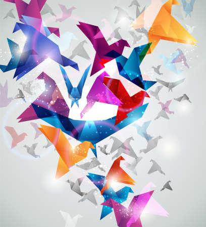 bandada pajaros: Vuelo de papel. Origami aves. Resumen ilustración vectorial.