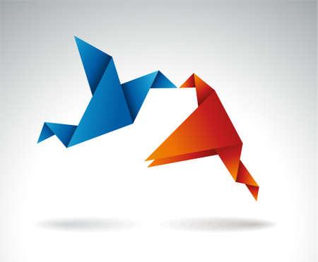 uccello origami: Carta Kiss, Origami illustrazione vettoriale simbolico.