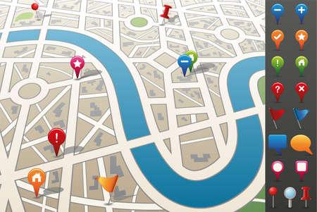 Plattegrond van de stad met GPS pictogrammen.