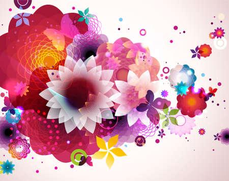Resumen de fondo floral de primavera. Vectores