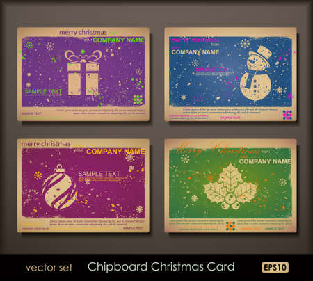 Colorful collection of chipboard Christmas cards. Two colors cards for printing the old fashioned way, but trendy. Print on blank chipboard textured paper. Size A6 (105�148 mm  4.1�5.8 in).  Vector